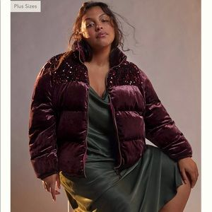 Anthro Vera Sequined Wine Velvet Puffer Jacket